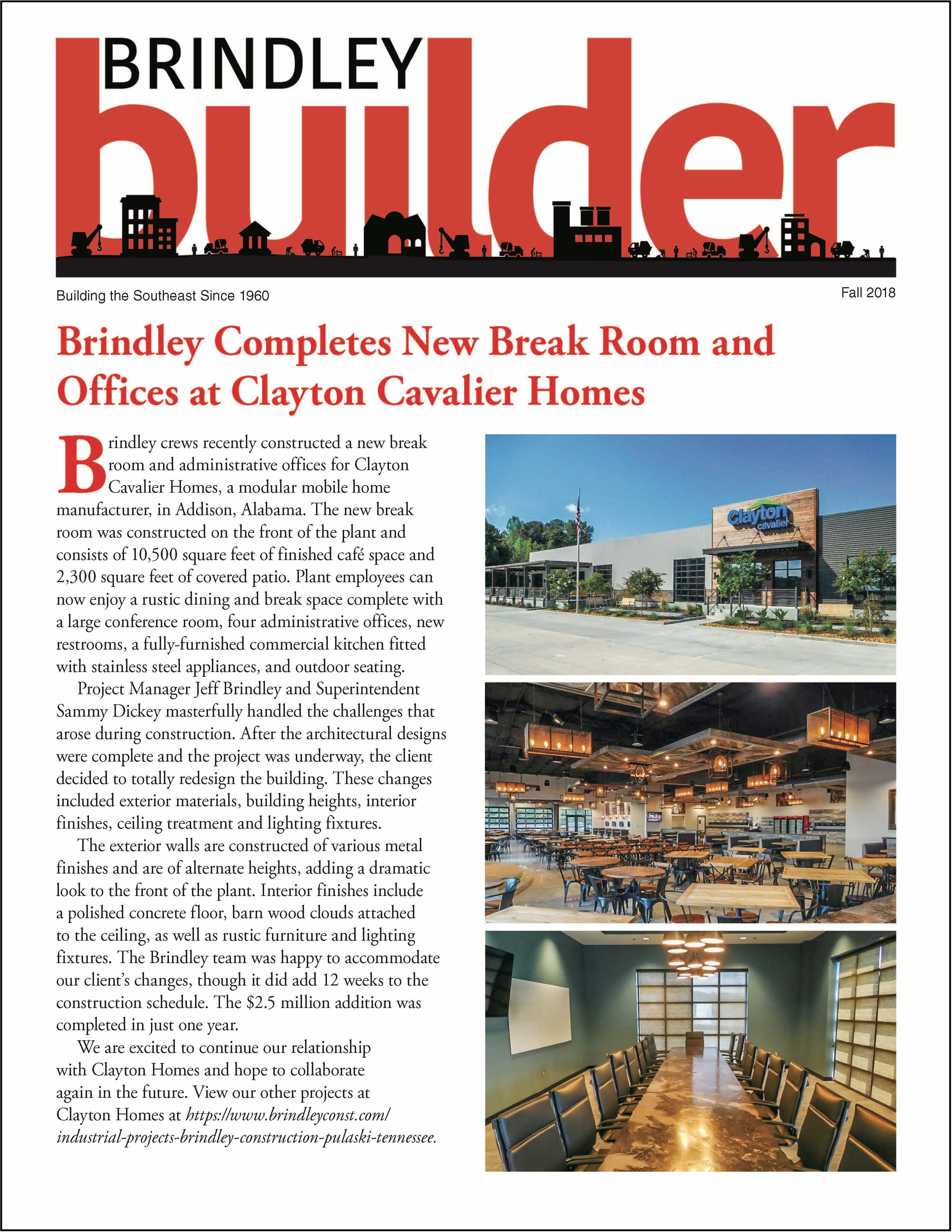 The Brindley Builder | Fall 2018 Issue | Brindley Construction