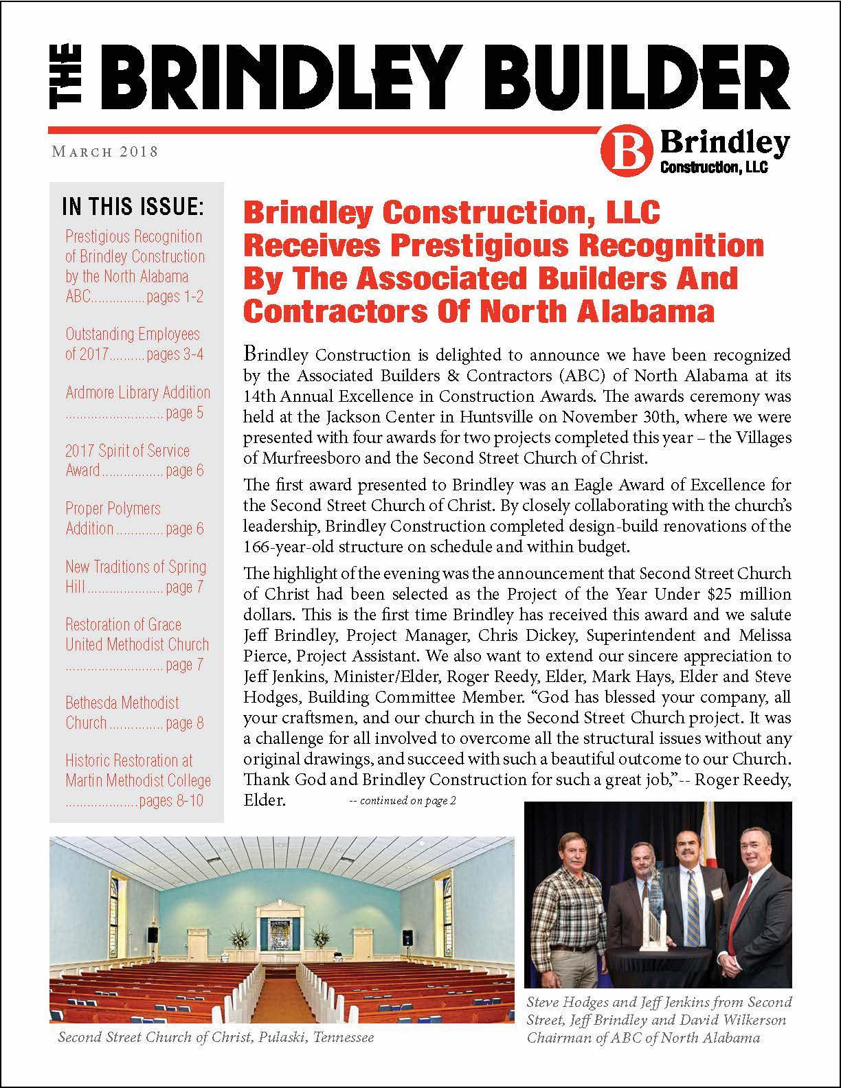 The Brindley Builder | Spring 2018 Issue | Brindley Construction