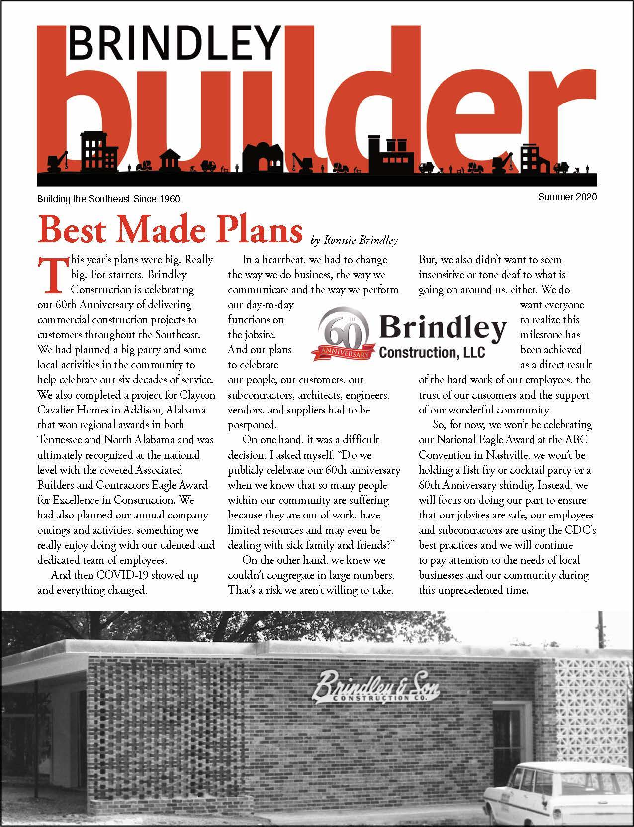 The Brindley Builder | Summer 2020 Issue | Brindley Construction