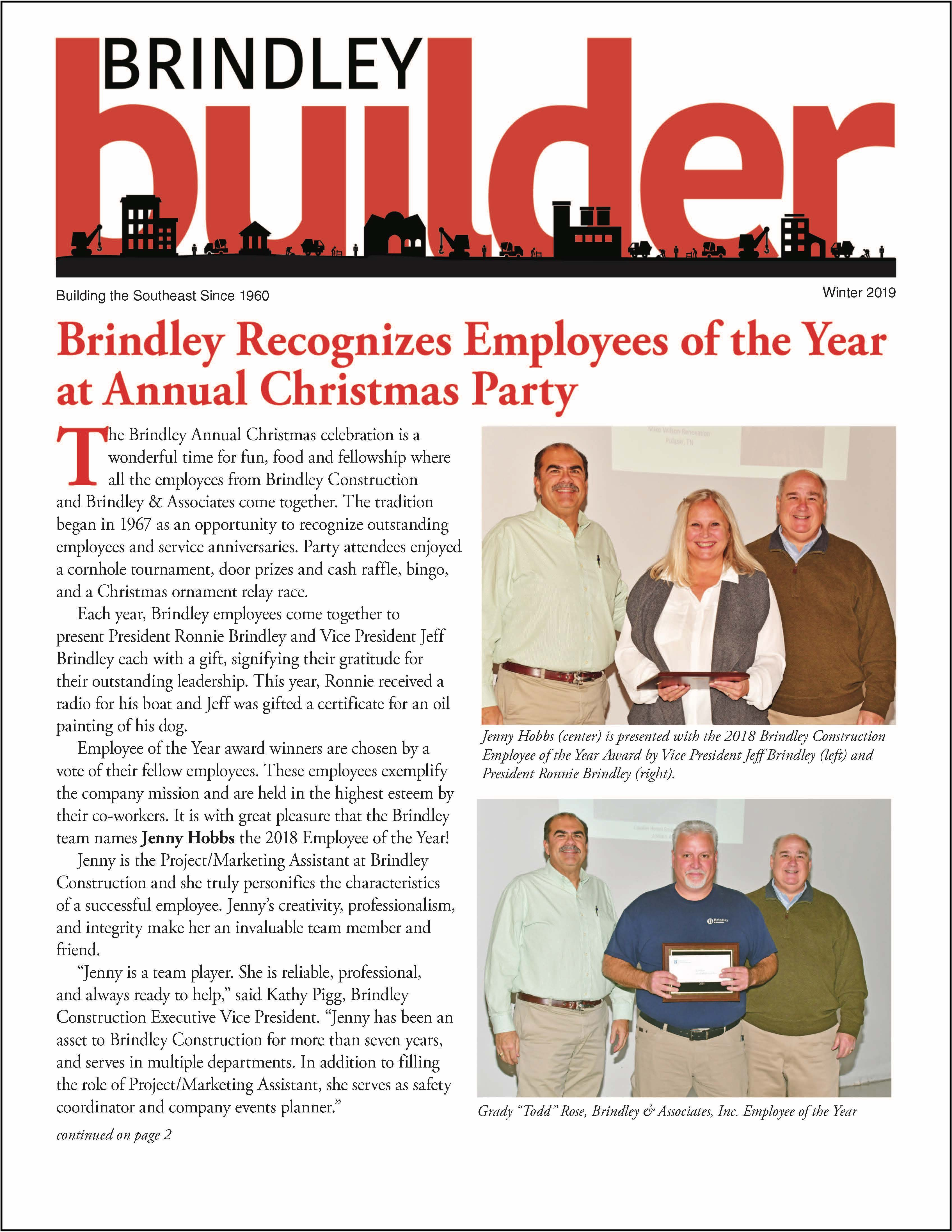 The Brindley Builder | Winter 2019 Issue | Brindley Construction
